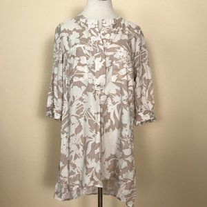 Soft Surroundings Ivory Floral Tunic Top